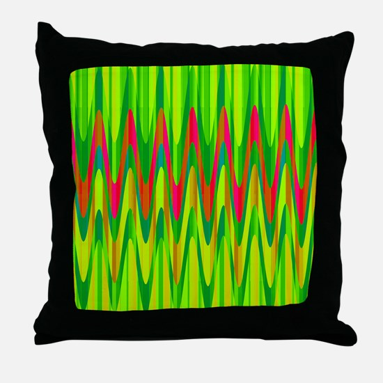 Wild Zigzag Green and Hot Pink Throw Pillow