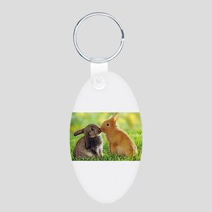 Love Bunnies Aluminum Oval Keychain