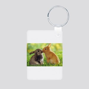 Love Bunnies Aluminum Photo Keychain