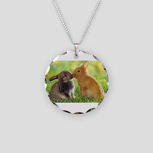 Love Bunnies Necklace Circle Charm