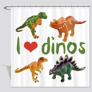 I Love Dinos Shower Curtain
