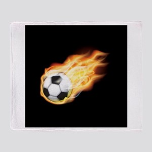 Fiery Soccer Ball Throw Blanket