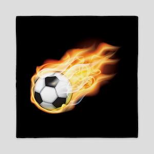 Fiery Soccer Ball Queen Duvet