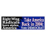 Take America Back Bumper Sticker