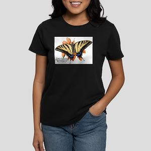Two-Tailed Swallowtail Butterfly Women's Dark T-Sh