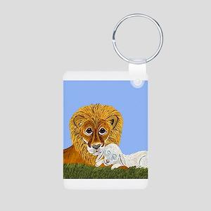 Lion And Lamb Aluminum Photo Keychain