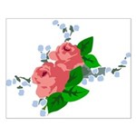 Vintage English Pink Roses Small Poster