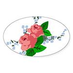 Vintage English Pink Roses Sticker (Oval 50 pk)