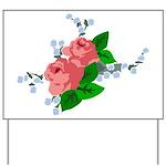Vintage English Pink Roses Yard Sign