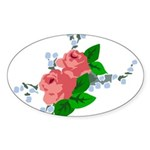 Vintage English Pink Roses Sticker (Oval)
