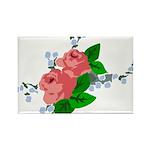 Vintage English Pink Roses Rectangle Magnet (100 p