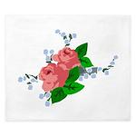 Vintage English Pink Roses King Duvet