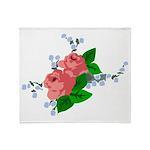 Vintage English Pink Roses Throw Blanket