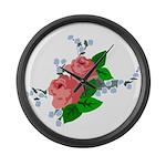 Vintage English Pink Roses Large Wall Clock