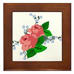 Vintage English Pink Roses Framed Tile