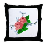 Vintage English Pink Roses Throw Pillow