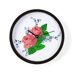 Vintage English Pink Roses Wall Clock