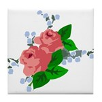 Vintage English Pink Roses Tile Coaster
