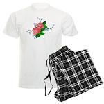 Vintage English Pink Roses Men's Light Pajamas