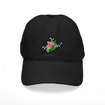 Vintage English Pink Roses Black Cap