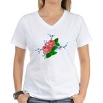 Vintage English Pink Roses Women's V-Neck T-Shirt