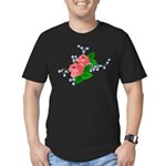Vintage English Pink Roses Men's Fitted T-Shirt (d