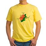 Vintage English Pink Roses Yellow T-Shirt