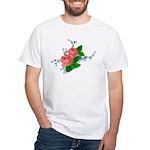 Vintage English Pink Roses White T-Shirt