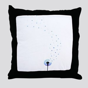 Dandelion seeds blowing in the wind Throw Pillow