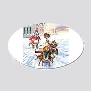 Cats in the Snow 22x14 Oval Wall Peel