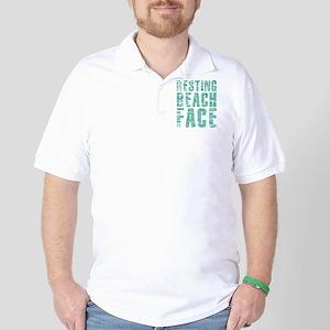 Resting Beach Face Print Golf Shirt