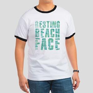 Resting Beach Face Print Ringer T
