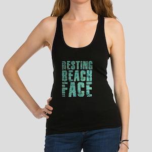 Resting Beach Face Print Racerback Tank Top