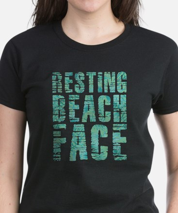 Resting Beach Face Print Women's Dark T-Shirt