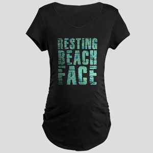 Resting Beach Face Print Maternity Dark T-Shirt