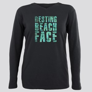 Resting Beach Face Print Plus Size Long Sleeve Tee