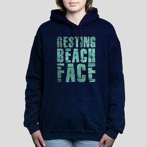 Resting Beach Face Print Women's Hooded Sweatshirt