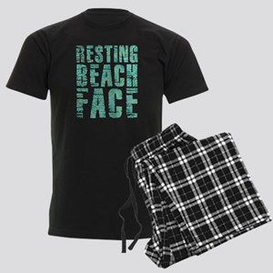Resting Beach Face Print Men's Dark Pajamas