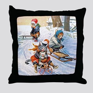 Cats in the Snow Throw Pillow