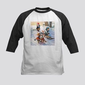 Cats in the Snow Kids Baseball Jersey