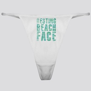 Resting Beach Face Print Classic Thong