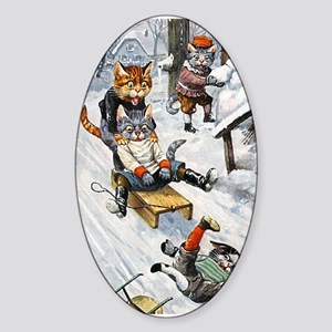 Cats in the Snow Sticker (Oval)