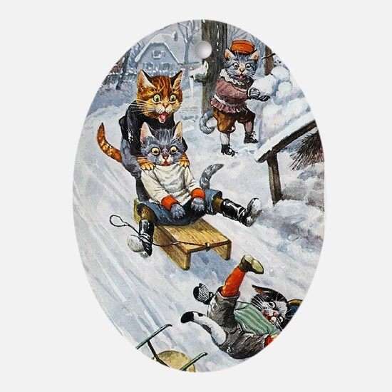 Cats in the Snow Ornament (Oval)