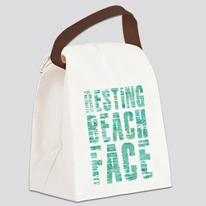 Resting Beach Face Print Canvas Lunch Bag