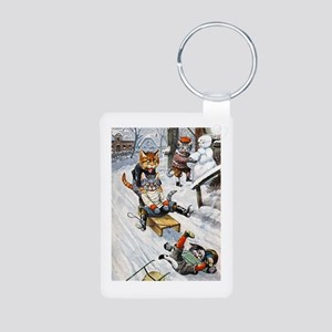 Cats in the Snow Aluminum Photo Keychain