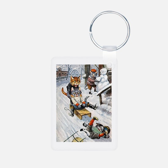 Cats in the Snow Keychains
