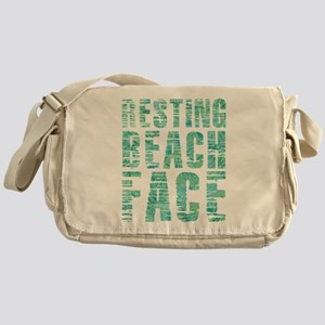 Resting Beach Face Print Messenger Bag