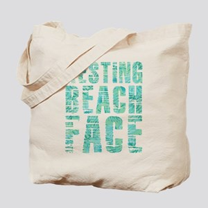 Resting Beach Face Print Tote Bag