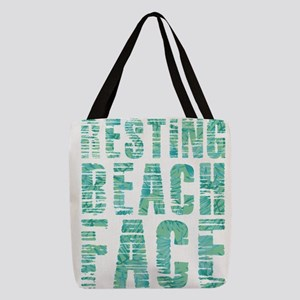 Resting Beach Face Print Polyester Tote Bag
