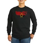 Angola Flag Long Sleeve Dark T-Shirt
